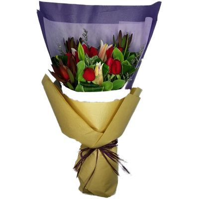One Dozen Bouquet with Two Steams Red Tiger Lily