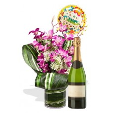 Dendrobium Orchid Package , Sparking wine and balloon
