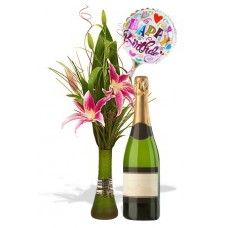 Oriental Lily Package with White wine and balloon
