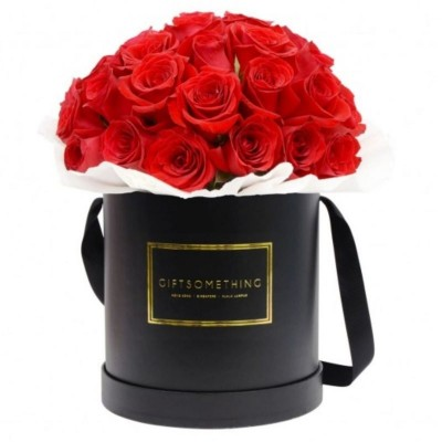 20 Stems Red Roses in a Round Gift Box